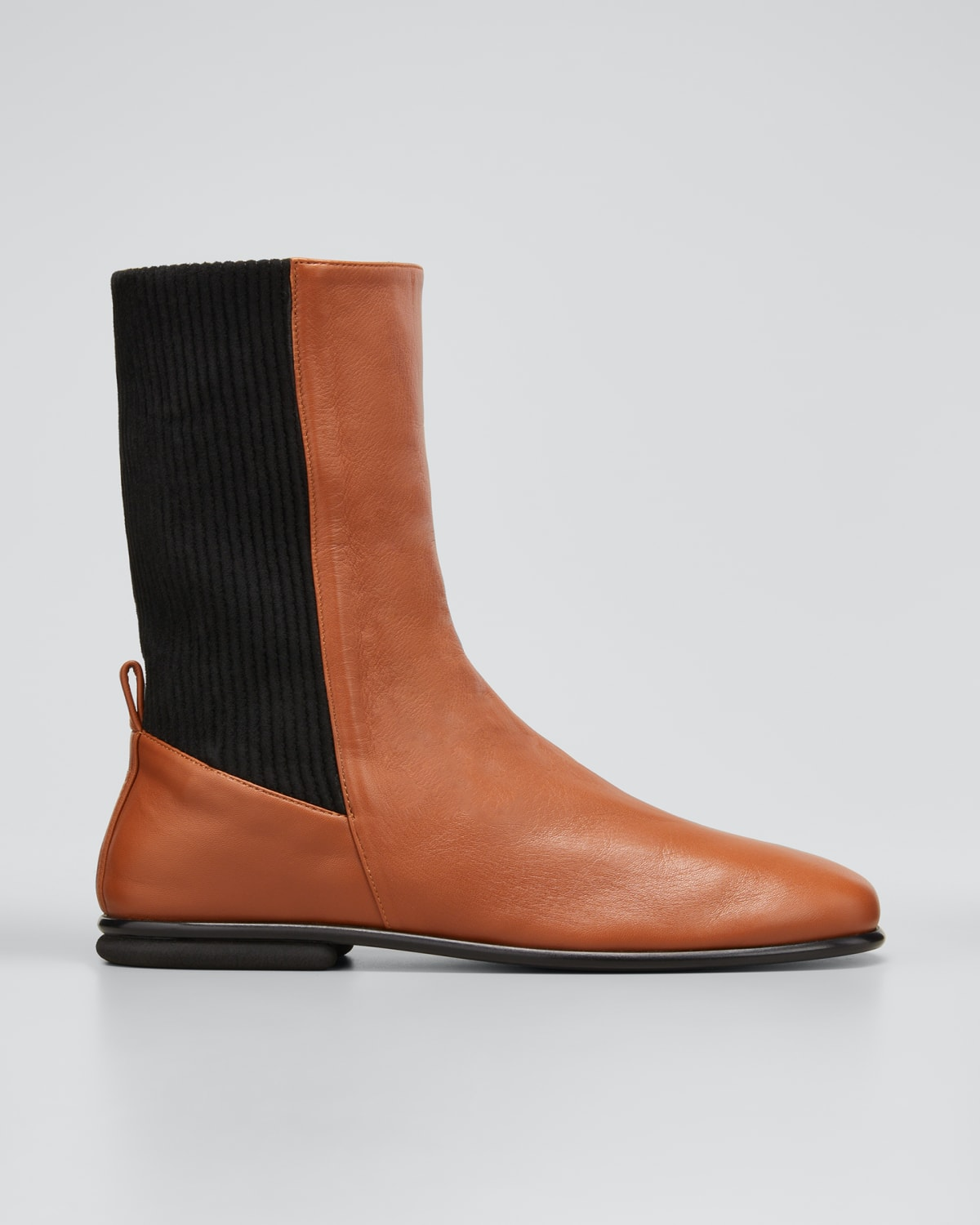 Mara Suede-Panel Leather Pull-On Boots
