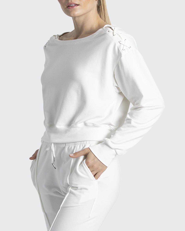 Laced Solid Sweatshirt