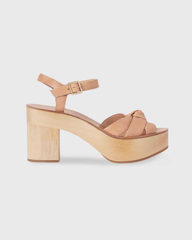 Elsa Knotted Calfskin Platform Sandals