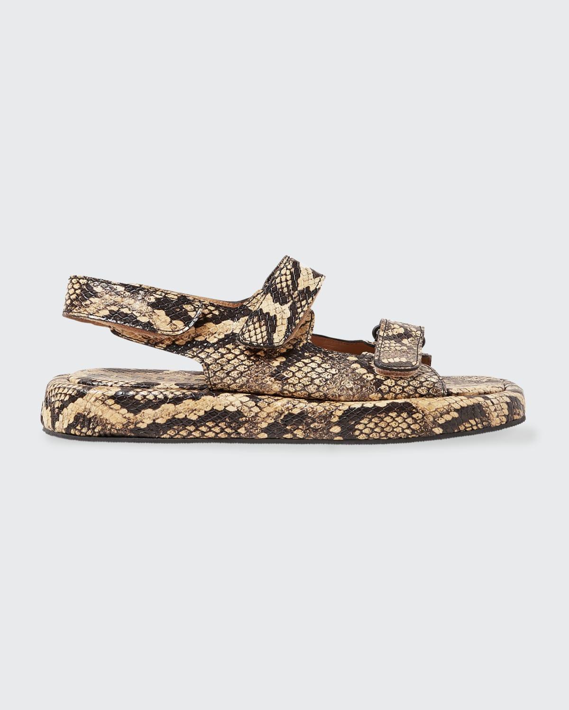 Blaise Snake-Print Slingback Sporty Sandals