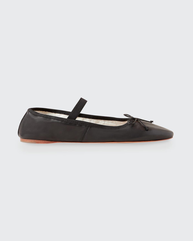 Leonie Lambskin Bow Ballerina Flats