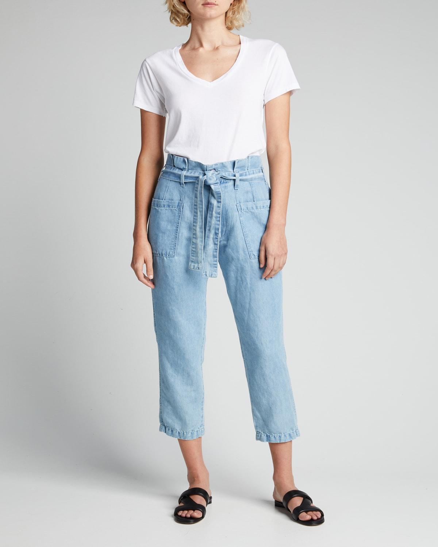 Belted Linen-Cotton Utility Pants