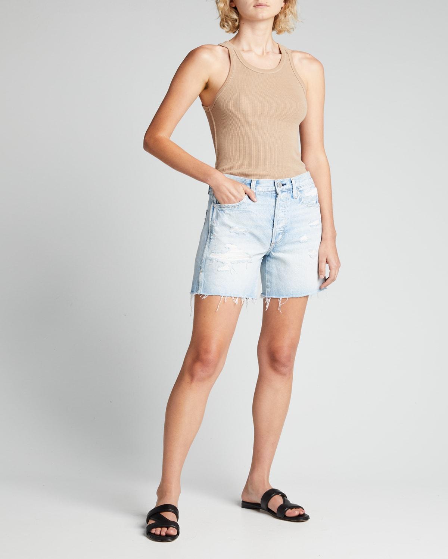 Midi Denim Cutoff Shorts