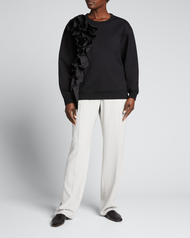 Asymmetric Ruffle Sweatshirt
