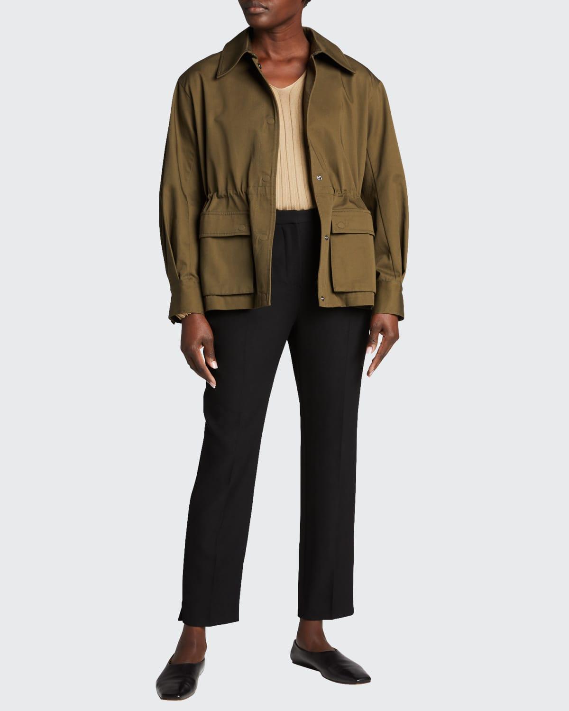 Pleated-Back Long-Sleeve Jacket