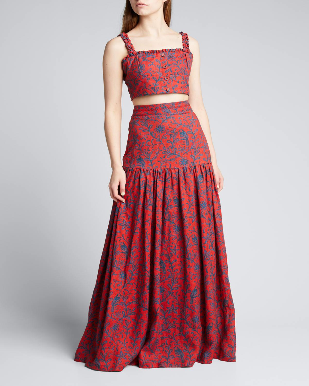 Margarita Tiered Linen High-Waist Skirt