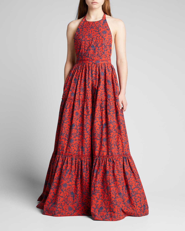 Naranja Tiered Cotton Halter Maxi Dress
