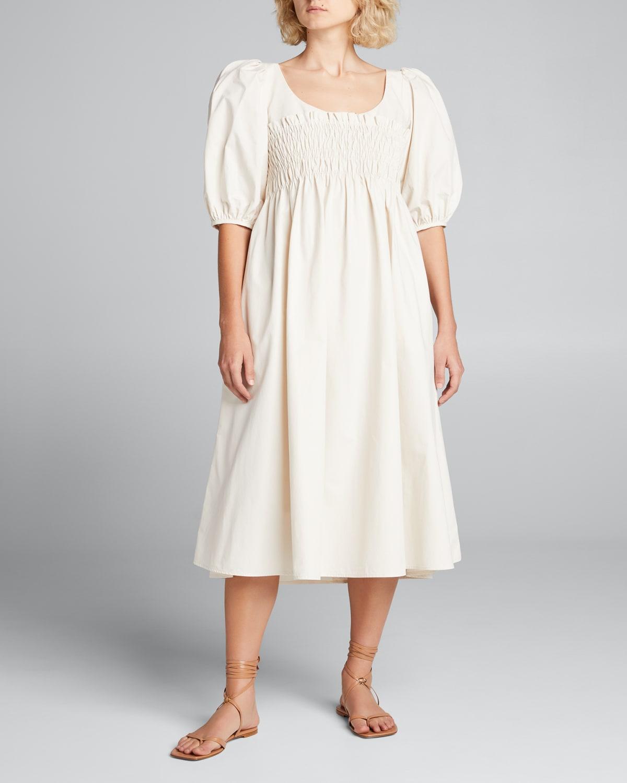 Veneto Smocked Puff-Sleeve Dress