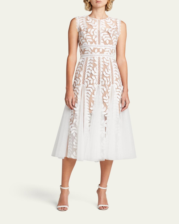 Saba Blanc Sleeveless Godet Dress