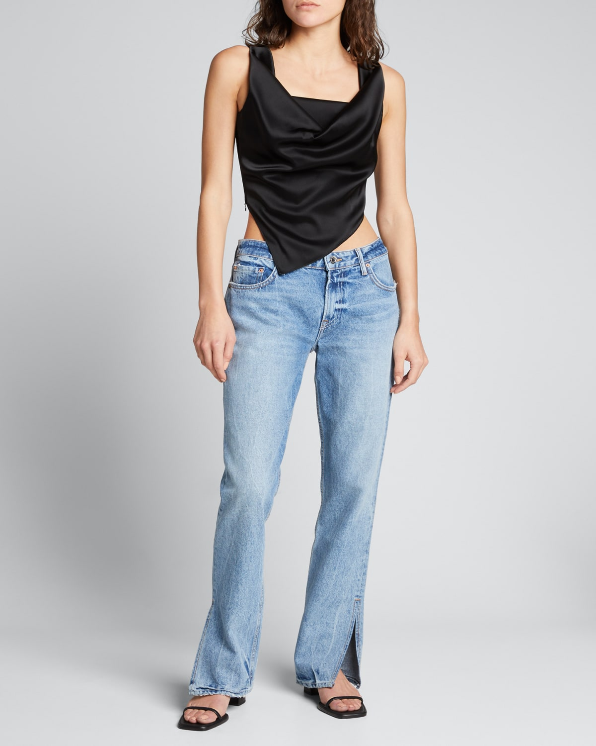 Hailey Low-Rise Straight Jeans with Splits