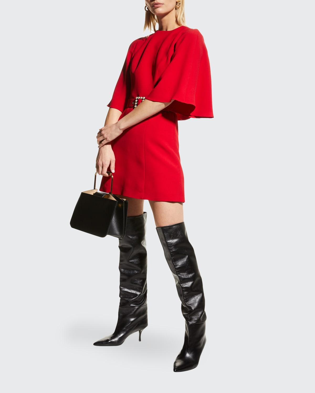 Cape-Sleeve Belted Crepe Mini Dress