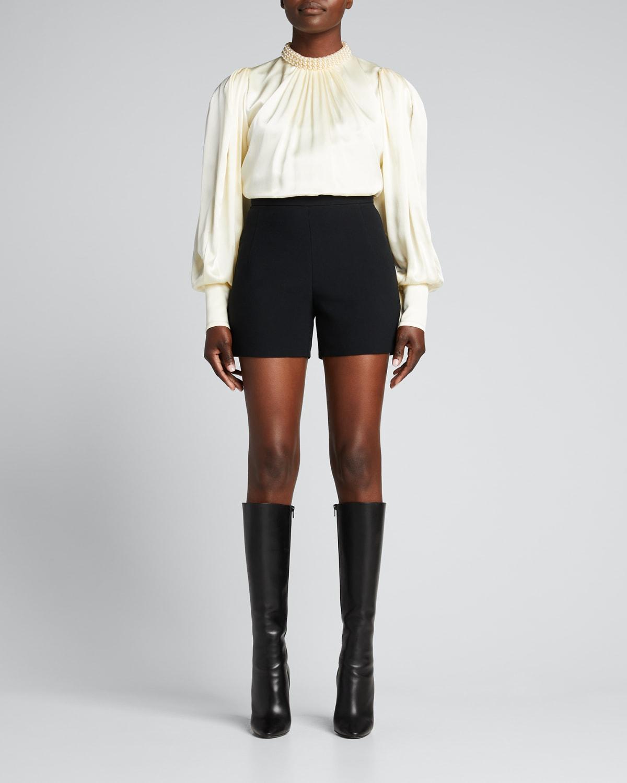 Pearl-Collared Silk Top
