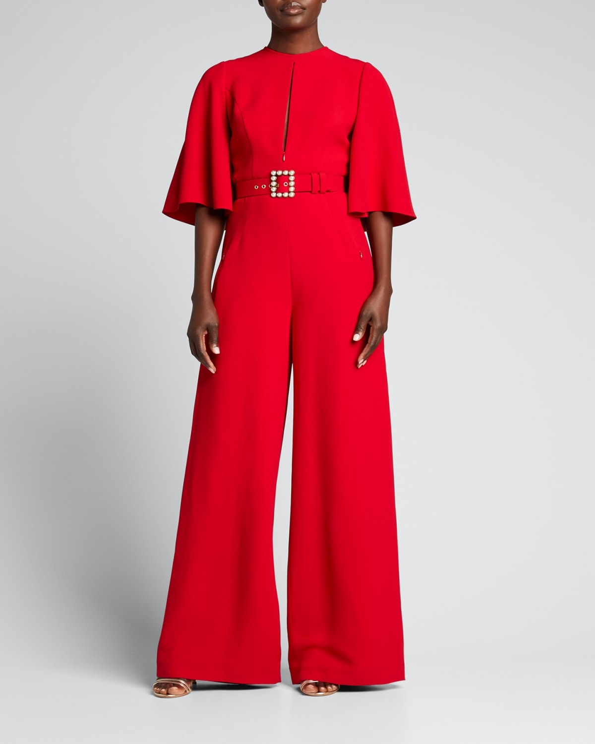 Pearl-Belted Cape Jumpsuit