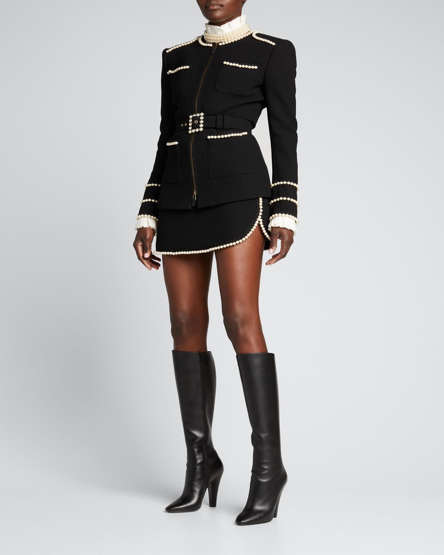 Pearl-Trim Mini Skirt