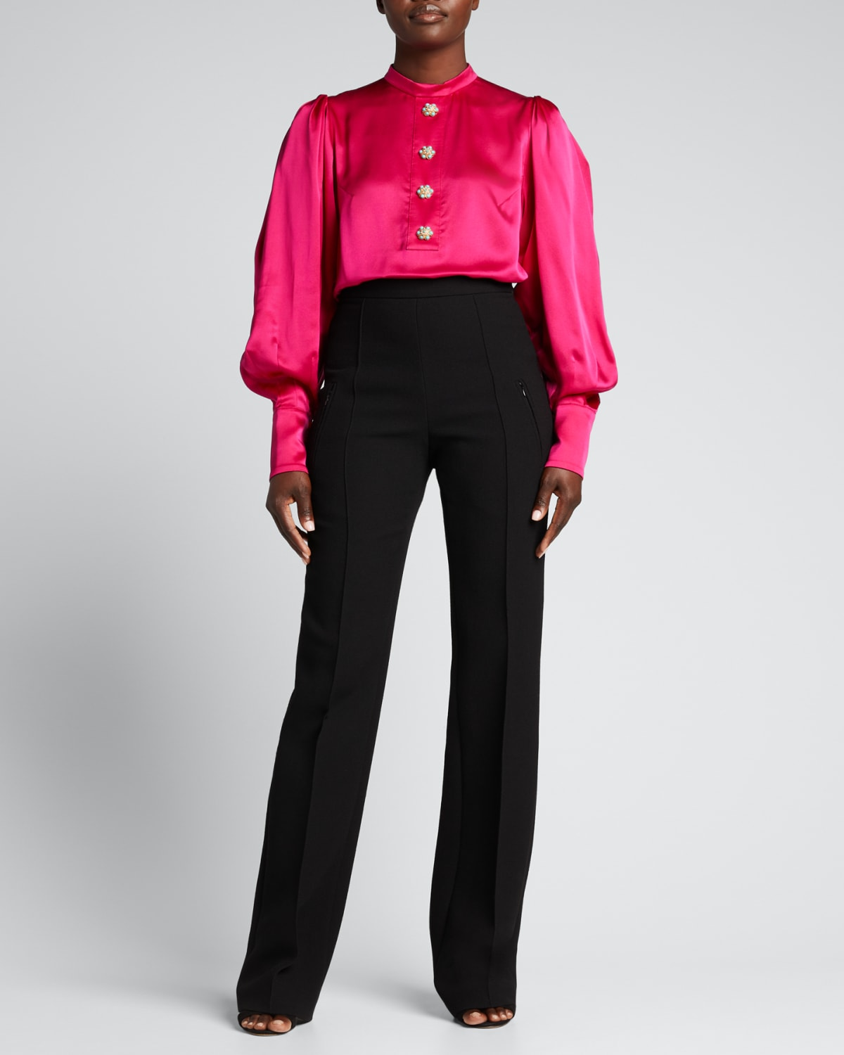 Jeweled-Button Puff-Sleeve Silk Blouse
