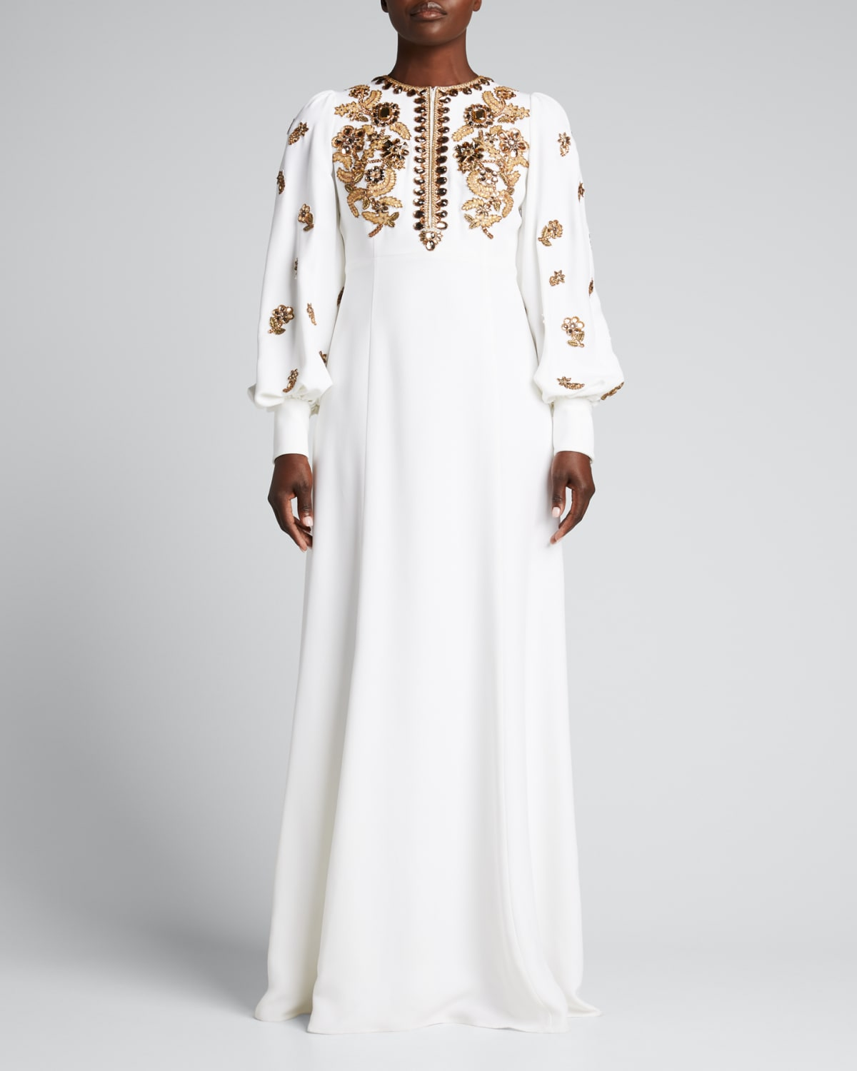 Jewel-Embroidered Balloon-Sleeve Gown