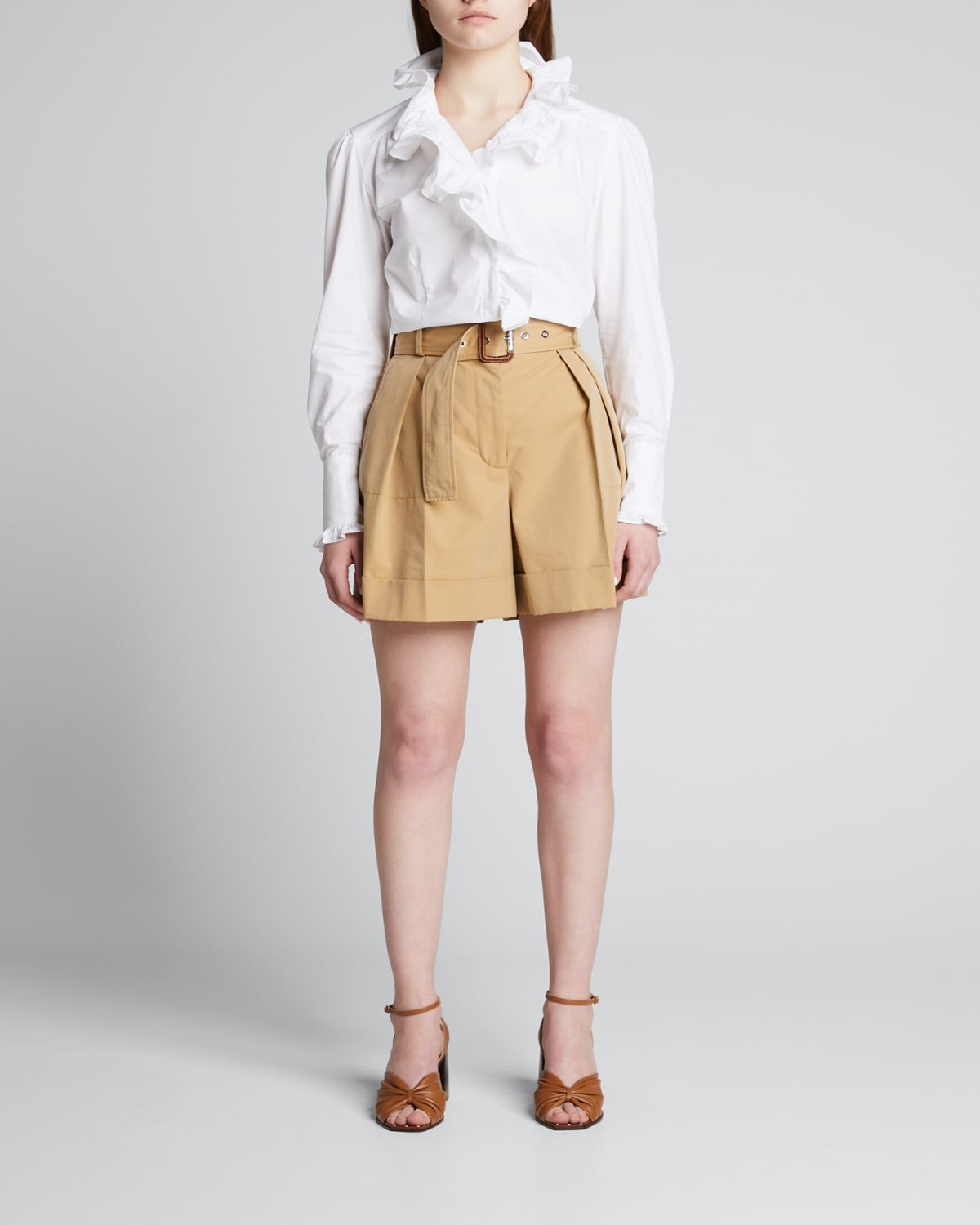 Anne Ruffle Button-Front Blouse