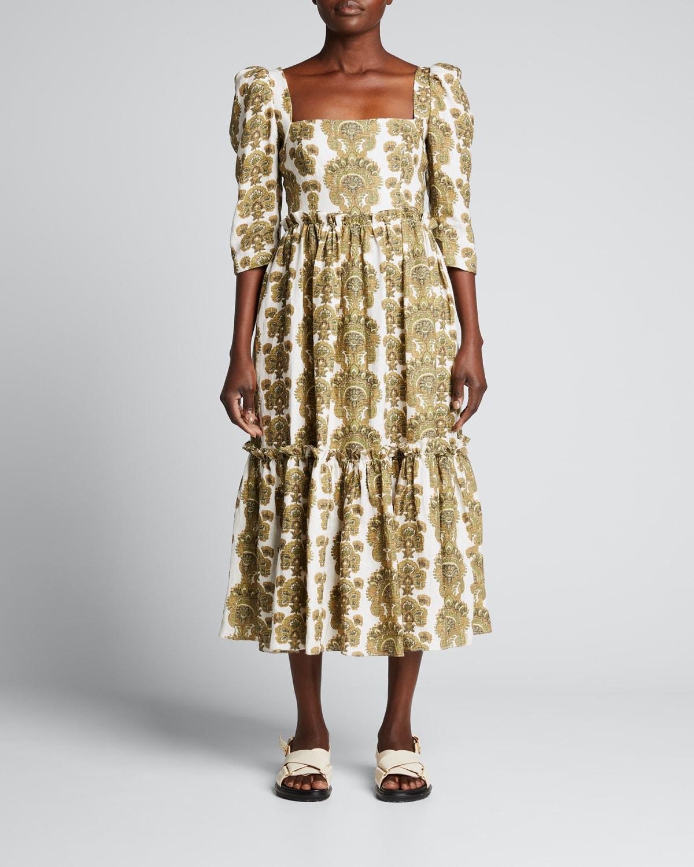 Blue Hill Square-Neck Cotton Midi Dress