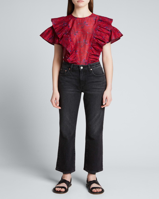 Tina Structured Floral Ruffle Top