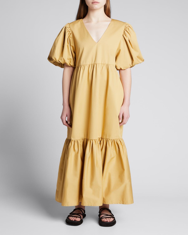 Majka Tiered Puff-Sleeve Maxi Dress
