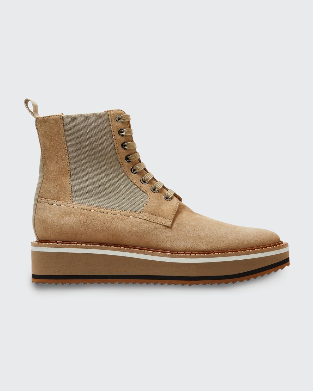 Brendy Leather Wedge Combat Booties