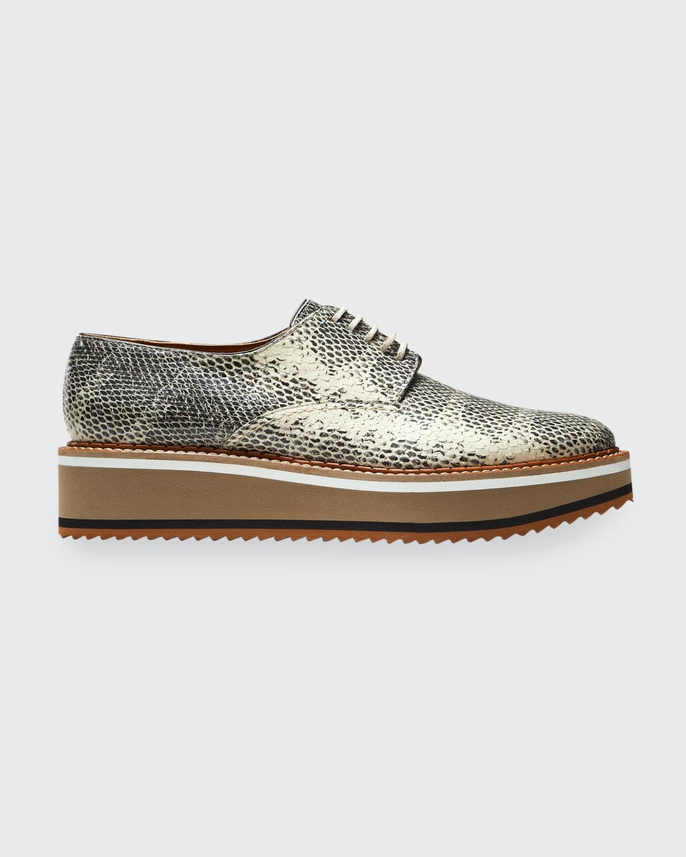 Dylan Snake-Print Platform Loafers
