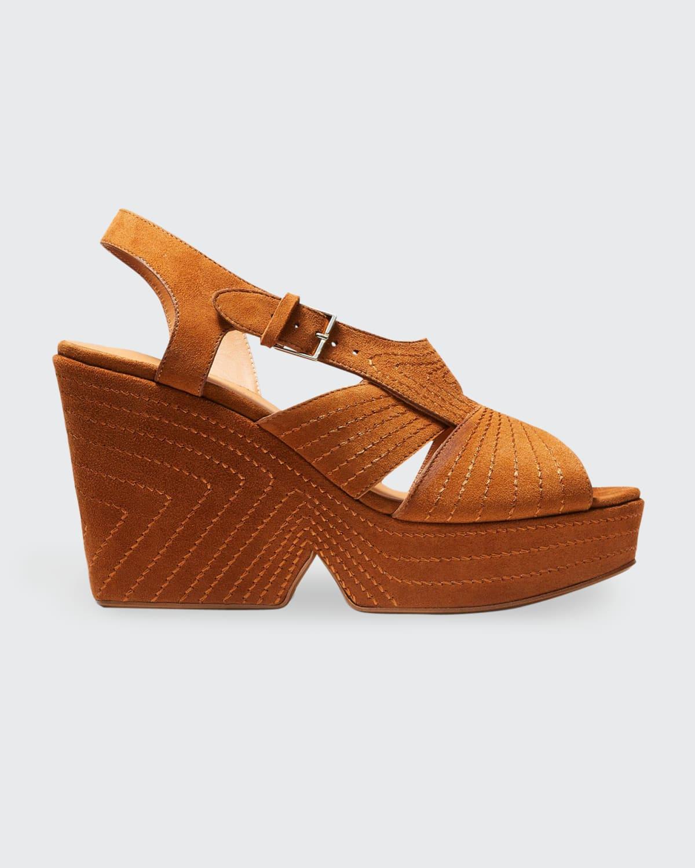 Darlene Suede Stitch Platform Sandals