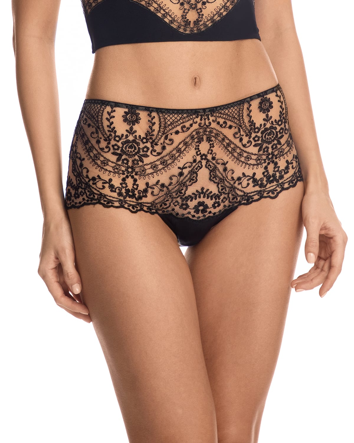 New Orleans Embroidered Tulle High-Waist Briefs