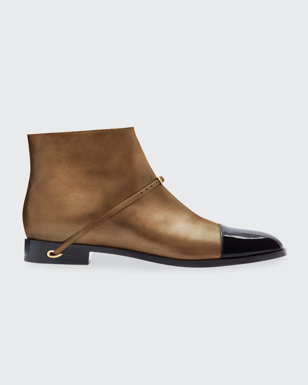 Gianni Metallic Two-Tone Ankle Booties