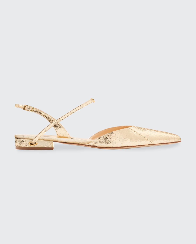 Metallic Snake-Print Slingback Ballerina Flats