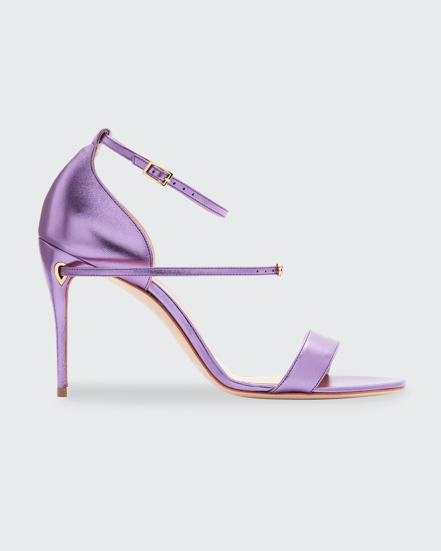 Rolando Metallic Ankle-Strap Sandals
