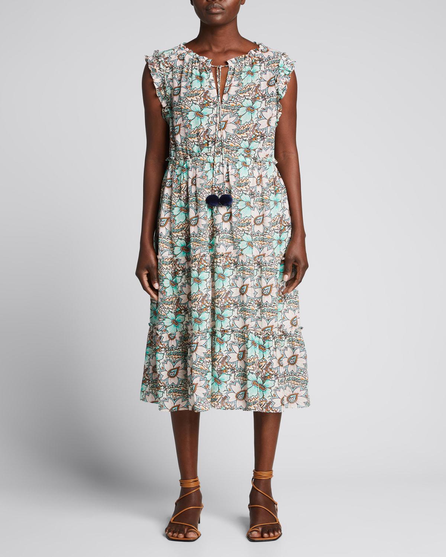 Clare Floral-Print Tie-Neck Midi Dress