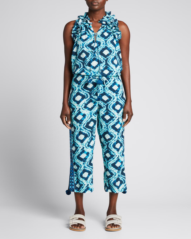 Goa Mixed-Print Cropped Pants w/ Pompoms