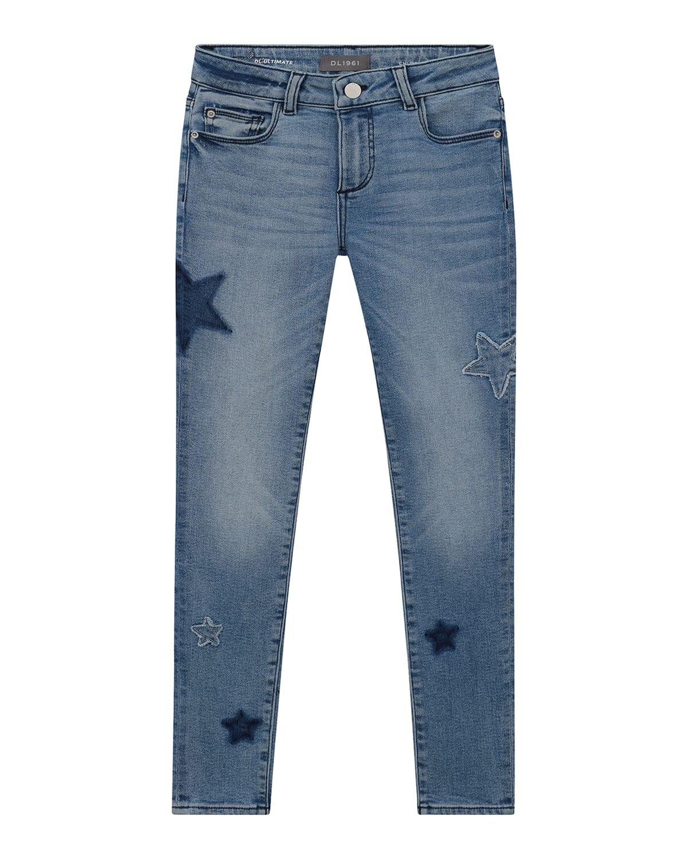 Girl's Chloe Raw-Edge Star Patch Denim Jeans