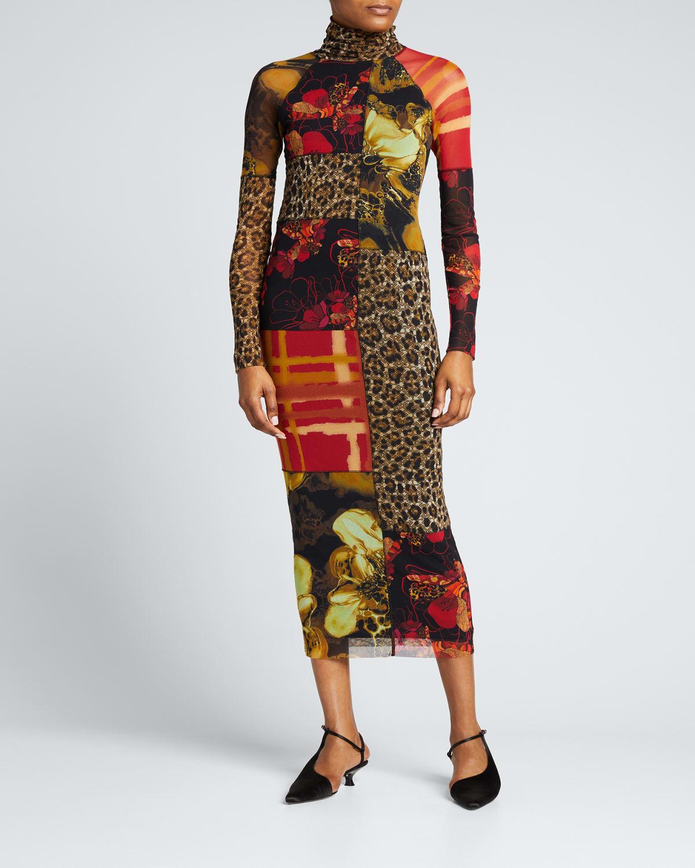 Patchwork Prints Long-Sleeve Turtleneck Dress