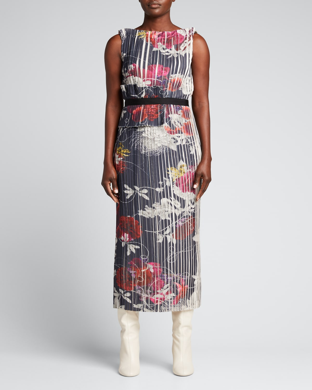 Mixed Floral-Print Pleated Dress