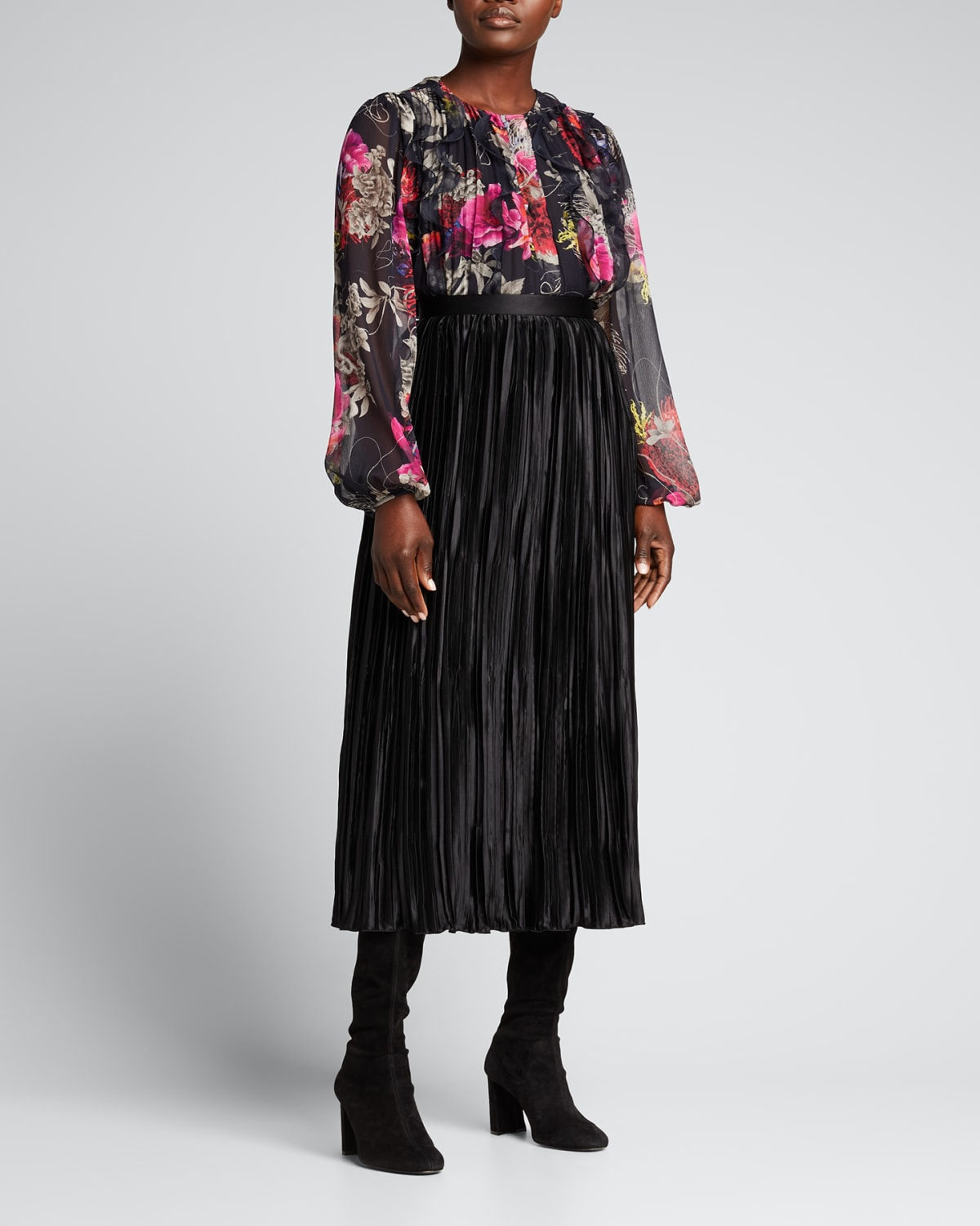 Mixed Floral-Print Crinkle Chiffon Blouse