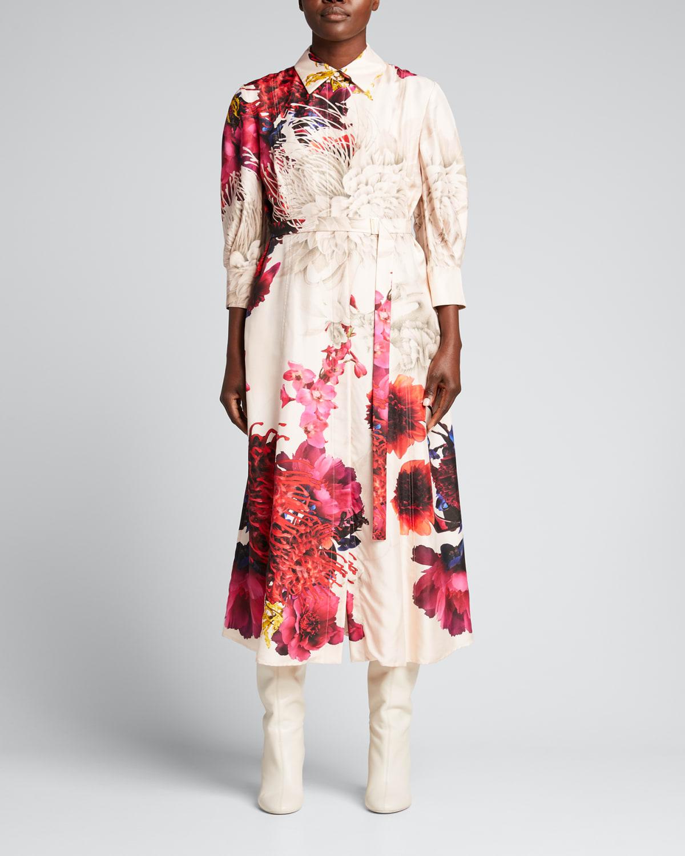 Ozabu Dream Floral Silk Twill Shirtdress