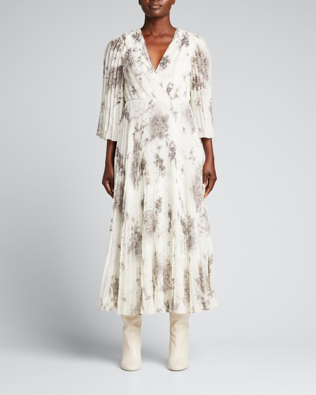 Ozabu Floral-Print Crinkle Chiffon Dress