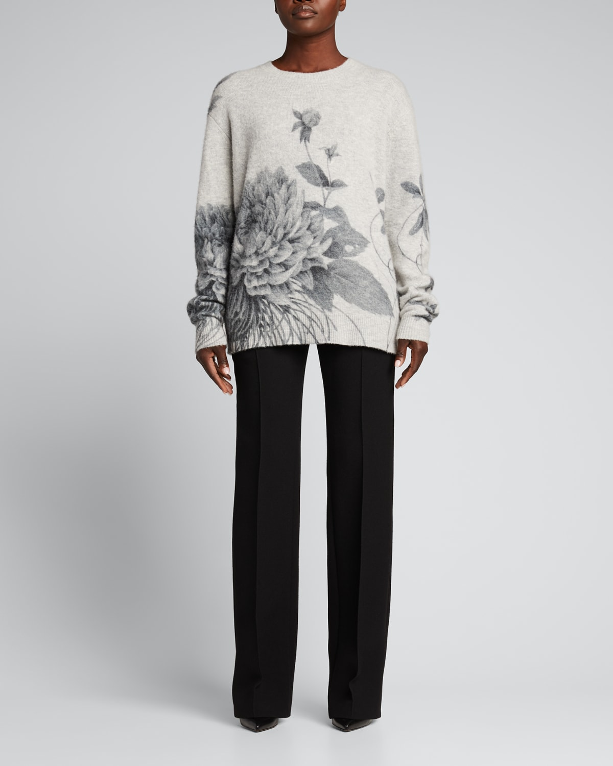 Floral-Print Cashmere Sweater