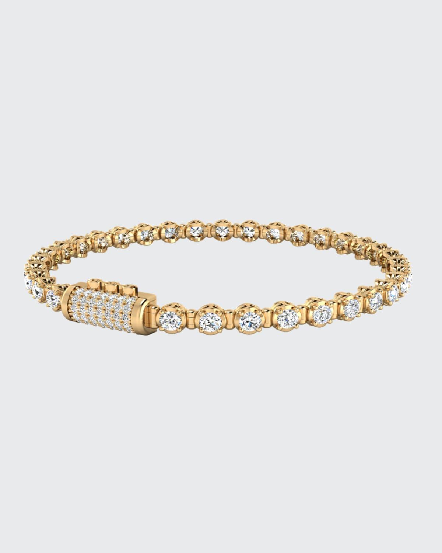 Infinite 3mm White Diamond Bracelet in Yellow Gold