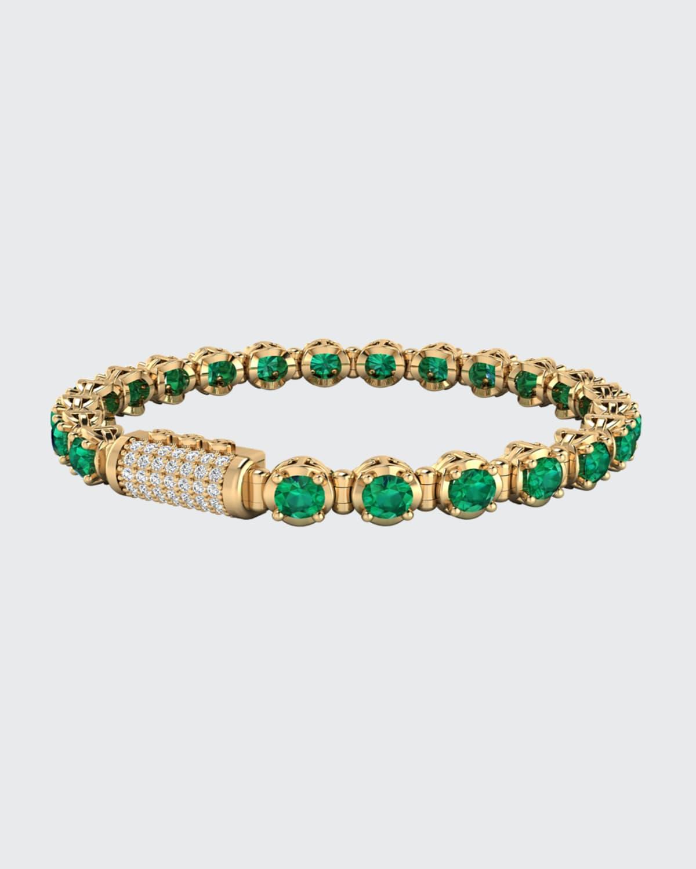 Infinite 5mm Emerald and Diamond Bracelet in Yellow Gold