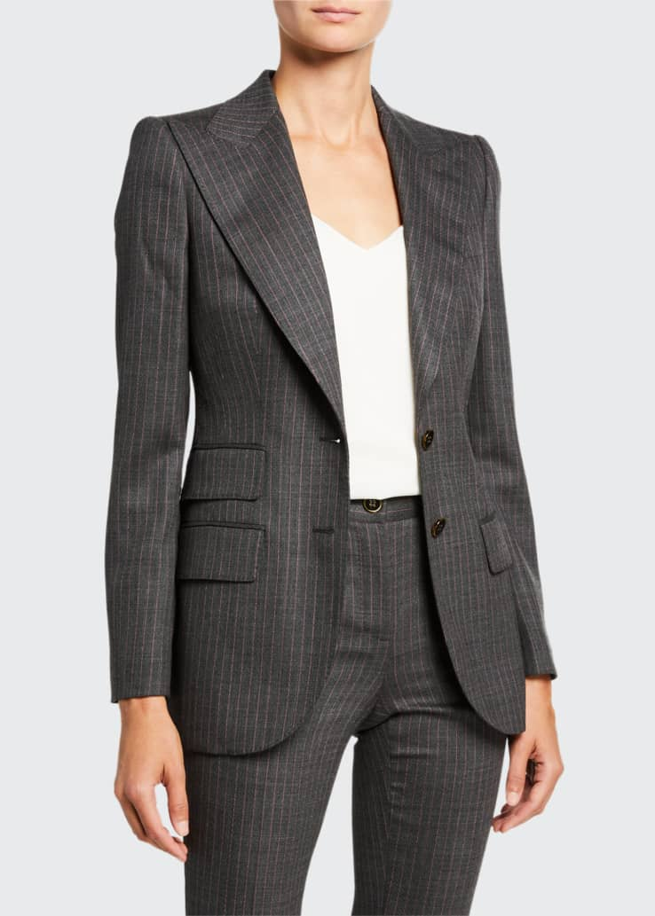 Pinstripe Stretch-Wool Blazer Jacket