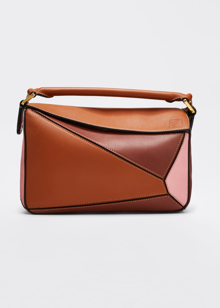 Puzzle Colorblock Leather Mini Satchel Bag