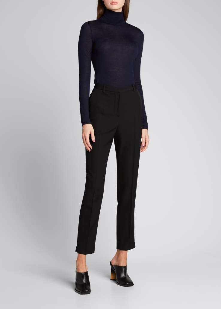 Wool Slim-Leg Cropped Trousers