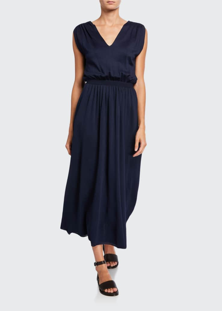 Silk V-Neck Midi Dress