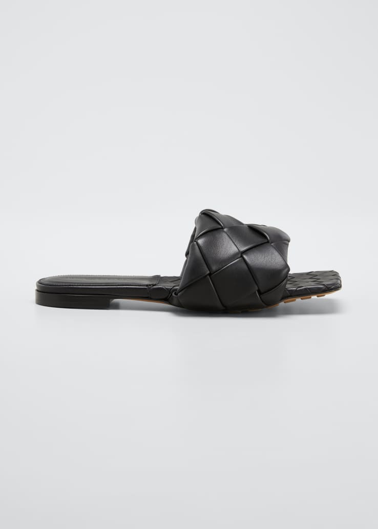 Puffy Intreccio Square-Toe Flat Slide Sandals