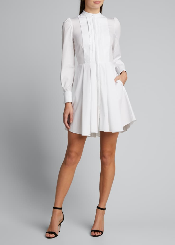 Pleated Poplin Shirtdress