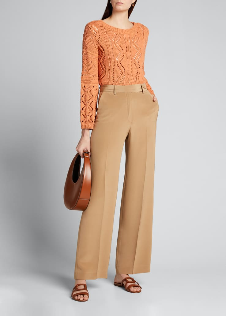 Silk Straight-Leg Pants