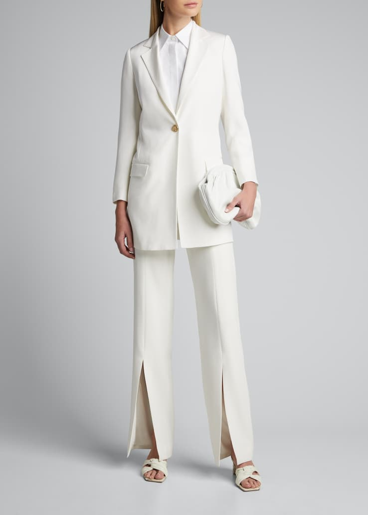 Long Silk One-Button Jacket